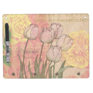 Vintage style tulips and roses Dry-Erase board