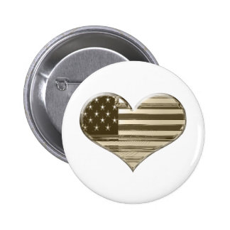 Vintage Style USA Heart Flag Art Button