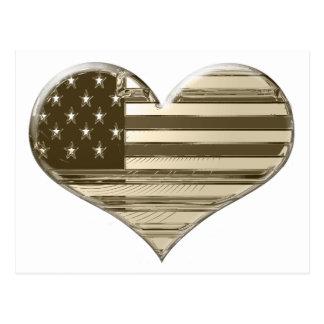 Vintage Style USA Heart Flag Art Postcard