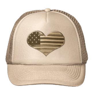 Vintage Style USA Heart Flag Art Trucker Hat