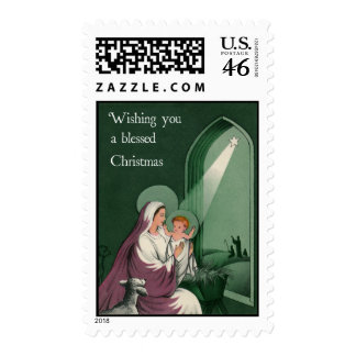 Vintage-Style Virgin Mary Christmas Stamp