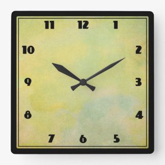 Vintage Style Watercolor background Square Wall Clock