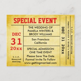 Vintage Style Wedding Event Save The Date Ticket Announcement Postcard