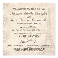 Vintage Style Wedding In Paris Invitations 5.25