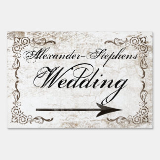 Vintage Style Wedding Sign w/Arrow