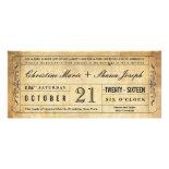 Vintage Style Wedding Ticket Invitation