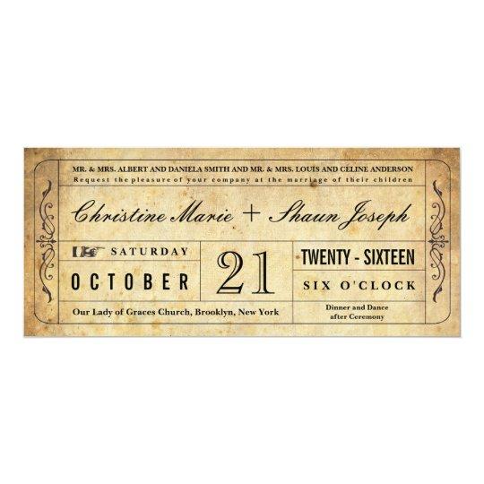 Vintage Style Wedding Ticket Invitation Zazzle