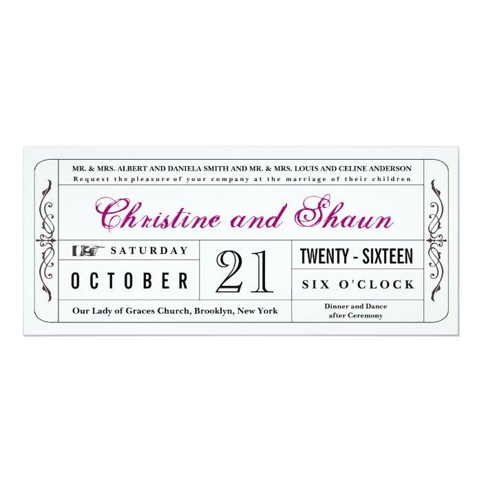 Vintage Style Wedding Ticket Invitation in Plum