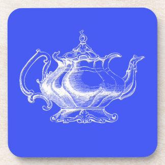 Vintage style White Teapot on blue coaster set