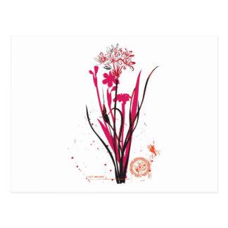 vintage style wild flower design postcard