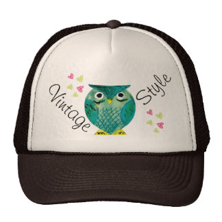 Vintage Style with Owls and Hearts - M1 Trucker Hat