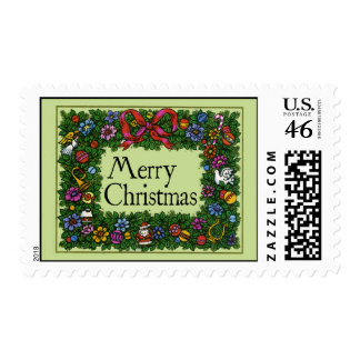 Vintage-Style Wreath Christmas Stamp