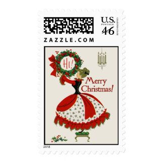 Vintage-Style Wreath & Lady Christmas Stamp