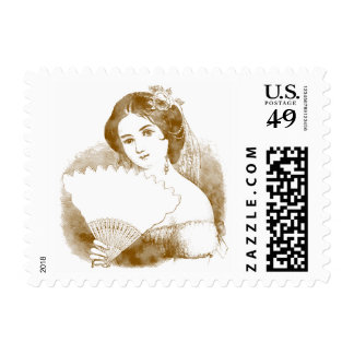 Vintage Style Young Woman with Fan Postage Stamps