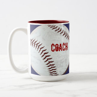 Vintage styled baseball ball coach mug