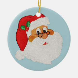 Vintage Styled Black Santa Cartoon Ceramic Ornament