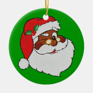 Vintage Styled Black Santa Image Ceramic Ornament