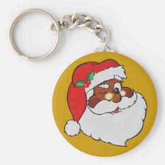 Vintage Styled Black Santa Image Keychain