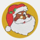 Vintage Styled Black Santa Image Round Stickers