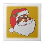 Vintage Styled Black Santa Image Tile