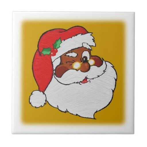 Vintage Styled Black Santa Image Ceramic Tiles