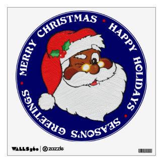 Vintage Styled Black Santa Image Wall Sticker