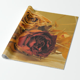 Vintage styles red roses bouquet beige-sounds wrapping paper