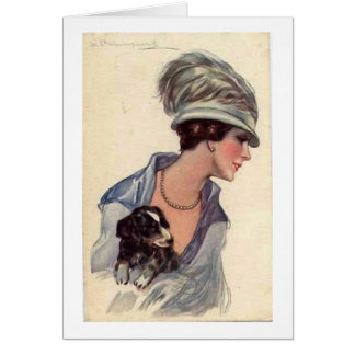 Vintage Stylish Lady with Puppy, Card