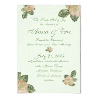 Vintage subió casando invitaciones invitación 12,7 x 17,8 cm