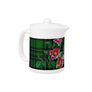 Vintage subió - tela escocesa verde