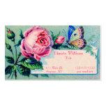 Vintage subió y tarjeta de visita de la mariposa