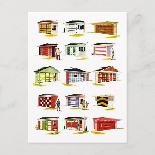 Vintage Suburbs 1960s Garages Now Available Postcard