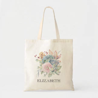 Vintage Succulent Floral Bridesmaid Tote Bag