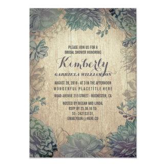 Vintage Succulents Rustic Bridal Shower Card