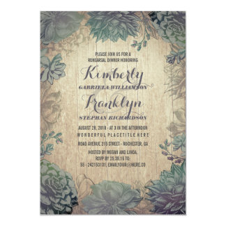 Vintage Succulents Rustic Rehearsal Dinner Card