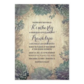 Vintage Succulents Rustic Wedding Card
