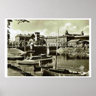 Vintage Suecia, Malmo!, costa y barcos Póster