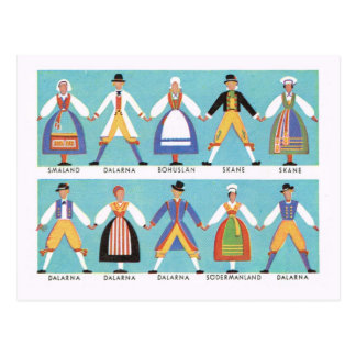 Vintage Suecia, traje popular sueco tradicional 2 Tarjeta Postal