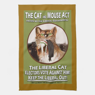 Vintage Suffragette Cat and Mouse Act Tea Towel