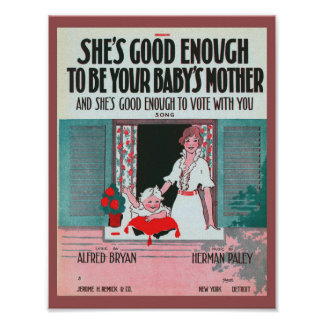 Vintage Suffragette Sheet Music Cover 1916 Poster