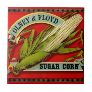 Vintage Sugar Corn Olney & Ford Produce Label Ceramic Tile