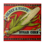Vintage Sugar Corn Olney & Ford Produce Label Small Square Tile