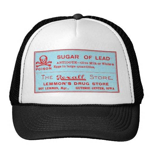 Vintage Sugar of Lead Poison Label Hats