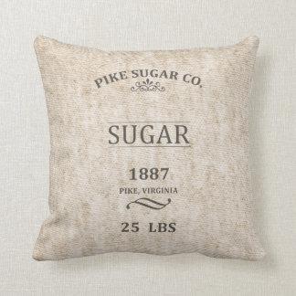 Vintage Sugar Sack Throw Pillow