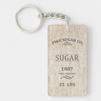 Vintage Sugar Sack Single-Sided Rectangular Acrylic Keychain