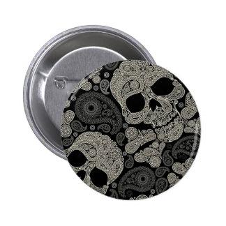 Vintage Sugar Skull Crossbones 2 Inch Round Button