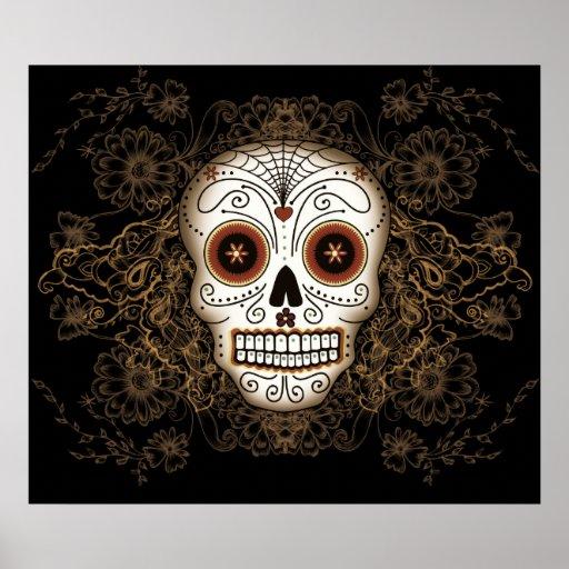 Vintage Sugar Skull Poster