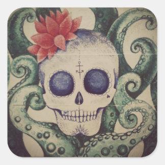 vintage sugar skull sea tattoo style sticker art
