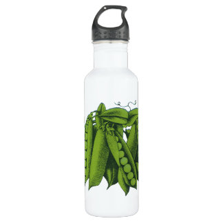 Vintage Sugar Snap Peas, Foods, Healthy Vegetables Water Bottle