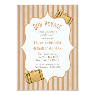 Vintage Suitcase Bon Voyage Goodbye Party Card